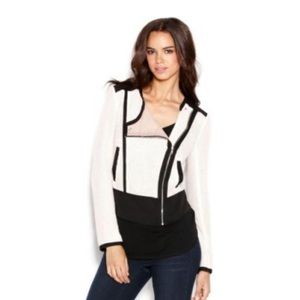 Rachel Roy Cream & Black Moto Jacket